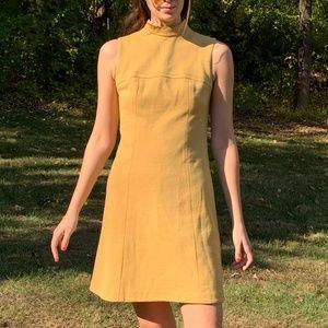 Vintage 60's Mustard Yellow Hippie Mod Mini Dress